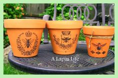 How to Decorate Flower Pots without glues or paints- can use on chalk paint too -  by A Lapin Life
