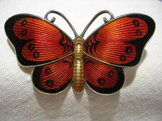 Ivar Holt Guilloche Enamel Butterfly Brooch - Norway