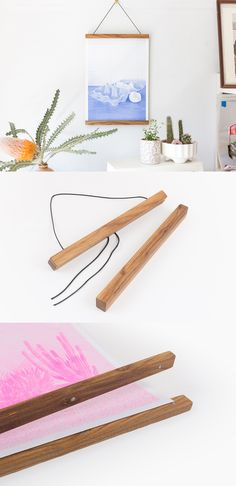 "Grab wooden poster rails from the Parabo App (in both 12"" and 36"" lengths) to hang your prints and photos using the power of magnets, the natural touch of wood and the simplicity of a single string on a nail."