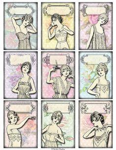 Instant Download, Vintage Lingerie Girl Labels, ATC Sized Digital Collage Sheet, Wedding Shower Labels Personalized