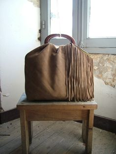 Camel Leather Hobo Purse with Suede Fringe by byloomandhyde