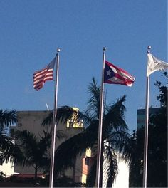 Hotel Doubletree by Hilton San Juan.  en el hotel se hace la representacion de las banderas de una buena manera puesto que esta colocada la de los Estados Unidos de América y a su lado Izquierdo a  la misma altura la de Puerto Rico y esta a su vez a su lado la bandera que representa al hotel. El estado de estas es bueno lo cual se puede observar.