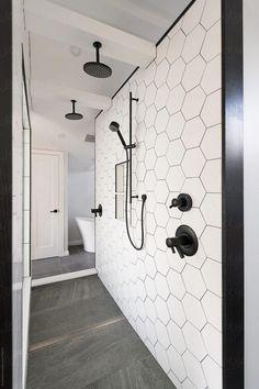 Bathroom renovation with a walkthrough shower with 2 rain heads – Bathroom Inspiration Bathroom Tile Designs, Bathroom Interior Design, Bathroom Ideas, Modern Bathroom Tile, Bathroom Inspo, Bathroom Vanities, Bath Ideas, Sinks, Shower Ideas