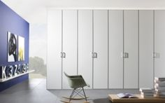 Custom designed hinged doors in white glass, perfect for bedroom, office and retail spaces Sliding Door Systems, Sliding Wardrobe Doors, Sliding Doors, Room Divider Screen, Room Dividers, Kitchens And Bedrooms, Storage Design, Retail Space, Storage Spaces