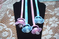 "Baby Shower Games/Favors Necklaces ""Don't Say Baby"" Boy or Girl Game/Favor Set of Shower Jewelry; unique gifts by on Etsy Baby Shower Photo Booth, Baby Shower Photos, Baby Shower Gender Reveal, Baby Shower Games, Baby Boy Shower, Dont Say Baby Game, Cupcakes For Boys, Diy Baby Shower Decorations, Elephant Baby Showers"