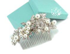 Wedding Hair Comb Swarovski Pearl Rhinestone & Crystal Bridal hair tiara comb Wedding Hair accessory. $48.00, via Etsy.