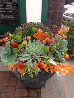 Fall Planters, Outdoor Planters, Garden Planters, Outdoor Gardens, Container Flowers, Container Plants, Container Gardening, Vegetable Gardening, Autumn Garden