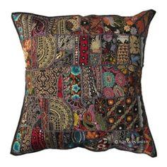 "24"" Black Indian Vintage Patchwork Cotton Throw Pillow Cushion Case Sham"
