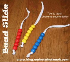Great tool for teaching phoneme segmentation.  See video on how to use and make the bead slide to teach this skill.