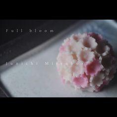 """#一日一菓 「 #爛漫 」 #煉切 製 #Wagashi of the day """" #Full bloom """" 本日は「爛漫」です。 更新遅くなり、御心配をお掛け致しました。 申し訳ございません。 Today is """"Full bloom"""". Aujourd'hui est """"pleine floraison"""". Oggi è il """"piena fioritura"""". 今天是""""盛开"""" #和菓子 #菓道 #茶道 #一菓流 #japan #煉切 #ねりきり #nerikiri Japanese Treats, Japanese Cake, Japanese Sweet, Japanese Food, Japanese Pastries, Japanese Wagashi, Chocolate Snacks, Food Crafts, Sweet Desserts"""