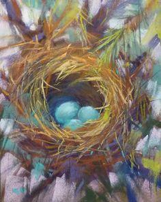 Bird Nest Robin's Eggs Blue  8x10 Original Pastel by Karen Margulis