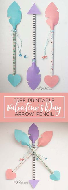 Fun Valentine's Day project for the kids! Valentine's Day pencil arrows free printable and template. Looks easy to make. #ValentinesDay #valentines #kids #arrow | LovePaperCrafts.com