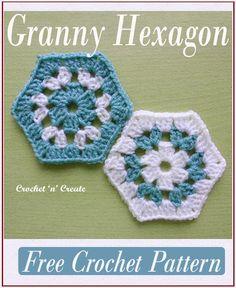 Hexagon Crochet Pattern, Crochet Hexagon Blanket, Crochet Blocks, Afghan Crochet Patterns, Crochet Squares, Crochet Motif, Hexagon Quilt, Tatting Patterns, Granny Square Häkelanleitung