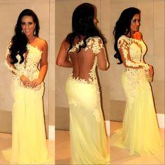 Fashion-Sexy-One-Shoulder-Long-Sleeve-Appliqued-Lace-Vestidos-De-Fiesta-Evening-Prom-Dress-CL106-.jpg (796×796)