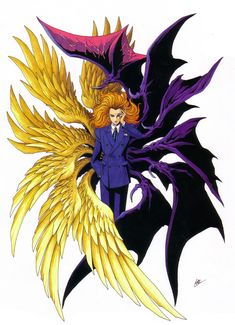 Artwork of Lucifer (or Louis Cyphre) with 12 wings (6 angelic and six demonic). Kazuma Kaneko has hinted that there will come a time where Lucifer will appear in this form.