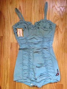 "Vintage 1940's/50's Jantzen Blue ""Ruffled Up"" Pin Up Swimsuit - NWT!"
