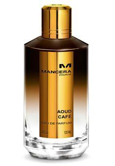 Aoud CaféEau de Parfum by Mancera.  Aoud Café Notes: Bergamot, peach, blackcurrant, amber, floral notes, black coffee, oud, white musk.