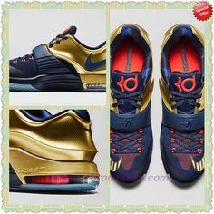 "Mens Nike KD 7 Premium Midnight Navy/Metallic Gold-Bright Crimson 706858-476 ""Trophy"" Outlet Canada"