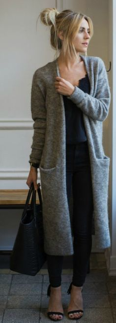 Katarzyna Tusk + ultimate cosy chic look + gorgeous knitted max cardigan + black jeans + matching top + sandals or boots + casual yet stylish look.   Sweater: & OtherStories, Jeans: Topshop, Top: Massimo Dutti, Boots: Tallinder.