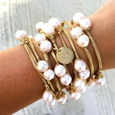 beautiful jewelry Pretty in Pearls Monogram Charm Wire Wrapped Bangle Bracelet Jewelry Accessories, Fashion Accessories, Jewelry Design, Fashion Jewelry, Women Accessories, Wire Wrapped Bangles, Bijoux Diy, Schmuck Design, Pearl Jewelry