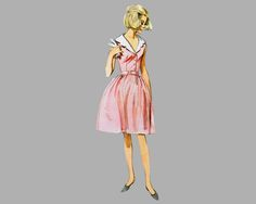 1965 One-Piece Dress pattern, Butterick 3890 Bust 36 inches, UNCUT, Sleeveless, 3 quarter sleeves , Detachable collar, Front button bodice by knightcloth on Etsy