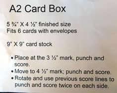 A2 Card Box tutorial using envelope punch board