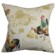 Reversible cotton pillow with a barnyard motif. Made in the USA.  Product: PillowConstruction Material: Cotton a...