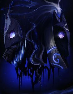 "League of Legends - Kindred""Lamb, tell me a story."" ""There was once a pale man with dark hair who was very lonely."" ""Why was it lonely?"" ""All things must meet this man, so, they shunned him."" ""Did he chase them all?"" ""He took an ax, and split himself in two. Right. Down. The middle."" ""So he would always have a friend?"" ""So he would always have a friend."""