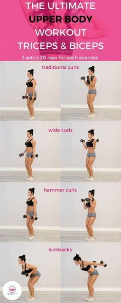 The Ultimate Upper Body Workout for Women: Triceps & Biceps - Dumbbell - Ideas o. - The Ultimate Upper Body Workout for Women: Triceps & Biceps – Dumbbell – Ideas of Dumbbell - Biceps And Triceps, Biceps Workout, Bicep Workout Women, Slimmer Arms Workout, Easy Arm Workout, Arm Day Workout, Chest Workout Women, Workout Kettlebell, Skinny Arms Workout