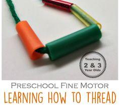 simple threading activity to strengthen fine motor skills