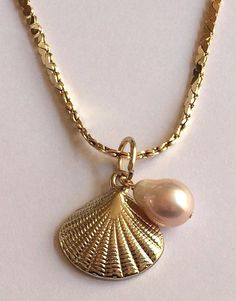 "Gold Sea Life Pearl Necklace Scallop Shell Freshwater Peach 18"" Beach Island USA #Unbranded #Pendant"