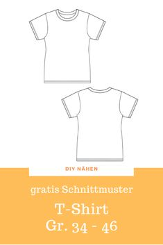 T-shirt free sewing pattern sewing pattern - Schnittmuster Sewing Patterns For Kids, Clothing Patterns, Pattern Sewing, Diy Tops, T Shirt Diy, T Shirts For Women, Clothes For Women, Free Sewing, Sewing Clothes