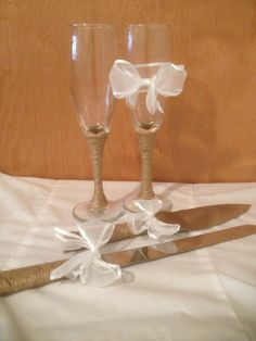 Wedding Champagne Toast Glasses Knife and Server by MyLightSide