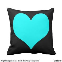 Bright Turquoise and Black Hearts