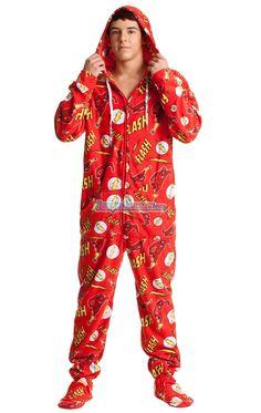 2acf1dd89d7 The Flash - Warner Bros. DC Comics - Pajamas Footie PJs Onesies One Piece  Adult