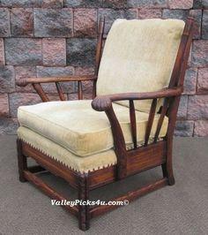 Antique Jamestown Lounge Co. FEUDAL OAK Captains Arm Chair Seat