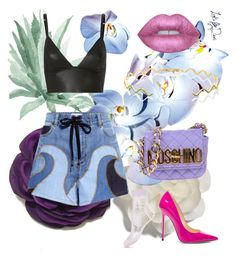 """""""S U M M E R F L O W E R S"""" by looksbydevi ❤ liked on Polyvore featuring Cara, RED Valentino, T By Alexander Wang, Lime Crime, Sabine Getty, Moschino, Miss Selfridge and Jimmy Choo"""
