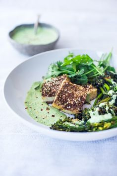 Zaatar Tofu with Green Tahini Sauce and Broccolini - asimple flavorful Middle Eastern sheet-pan dinner that is vegan adaptable and gluten free.