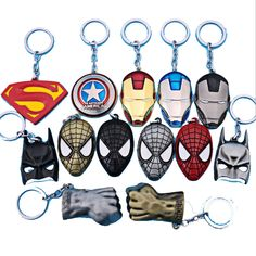Cheap toy, Buy Quality toy story mr potato head directly from China toy race car track sets Suppliers: The avengers ironman Deadpool keychain ring toy set 2016 New Superhero Spiderman Captain America shield helmet party decoration The Avengers, Superhero Spiderman, Batman Vs Superman, Deadpool, Mens Keychains, Die Rächer, Ironman, My Prince Charming, Toys