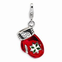 Sterling Silver 3-D Enameled Red Mitten W/Lobster Clasp Charm