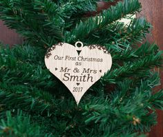 Custom Bauble Wooden Our First Christmas, Mr & Mrs Heart Decoration, White Oak