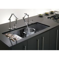 "Kohler Stages 45"" x 18-1/2"" x 9-13/16"" Undermount Single-Bowl with Wet Surface Area Kitchen Sink & Reviews 