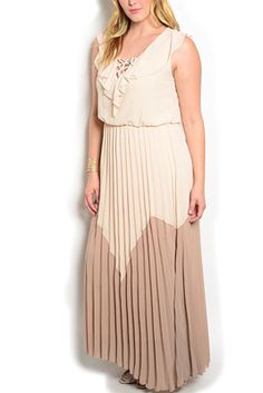 Plus Size Color Blocked Overlay Maxi Dress