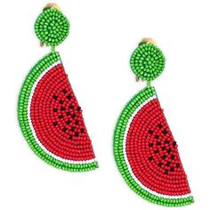 Kenneth Jay Lane Watermelon Clip-On Earrings (1.167.475 IDR) ❤ liked on Polyvore featuring jewelry, earrings, clip earrings, kenneth jay lane, earring jewelry, beads jewellery and kenneth jay lane earrings