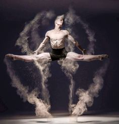 Movement - Male dancer with flour