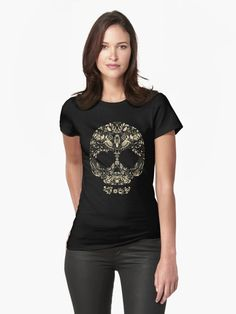 Floral human skull vector. Decorative beautiful design. Bird accents • Also buy this artwork on apparel, stickers, phone cases, and more.