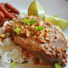 Slow Cooker Thai Peanut Pork Allrecipes.com: this recipe is one of my all-time favorites.