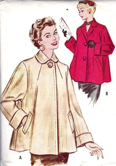 "1950s Misses Swing Coat Vintage Sewing Pattern, McCall's 9584 bust 30"". $10.00, via Etsy."