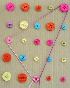 :  Make a Button board to add a little craftiness to preschool math? Break out the glue gun and create this button board! With a few simple materials, your child will be practicing some key preschool math concepts, but having a ball in the process.    What You Need:  •glue gun  •buttons in several colors  •12-inch square of heavy cardboard or craft foam  •shoelace or length of yarn