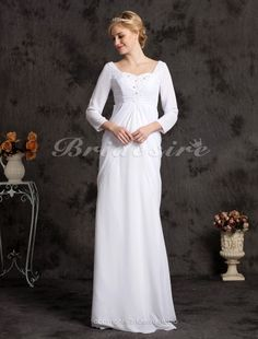 Sheath/ Column Chiffon Floor-length Sweetheart Wedding Dress - $134.99